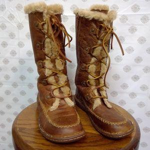 BOC Brown Leather Lace Up Faux Fur Boots